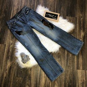 Lauren Jeans Co Patchwork Distressed Denim Jeans